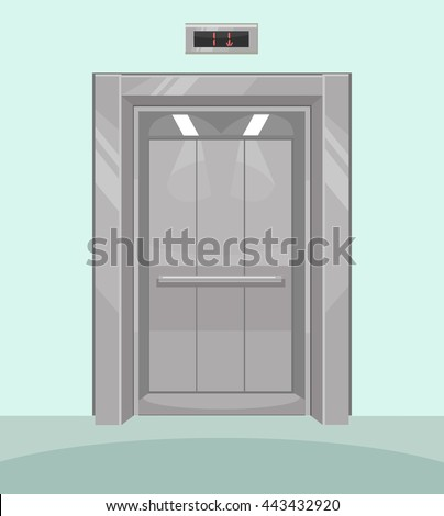 Open elevator. Iron elevator with open doors. Vector flat cartoon illustration