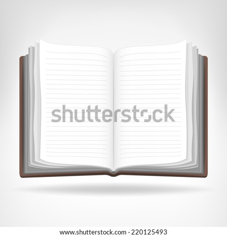 open empty book isolated object vector illustration