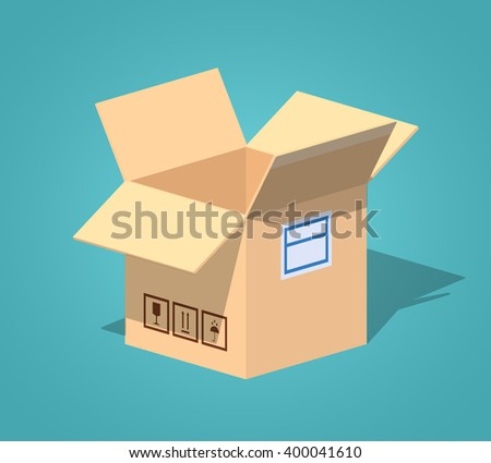 Open empty cardboard box against the blue background. 3D lowpoly isometric vector illustration - stock vector