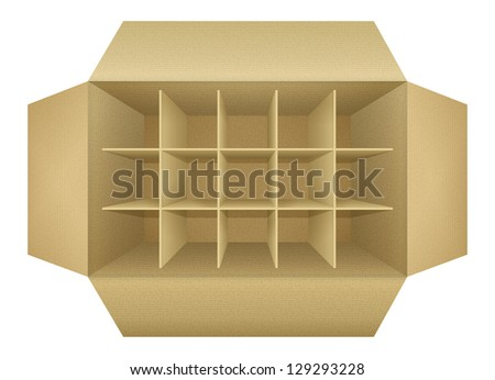 Open empty corrugated cardboard packaging box, with subtle textures, dividers,  flaps, shadows,  isolated on white background. Detailed realistic vector illustration - stock vector
