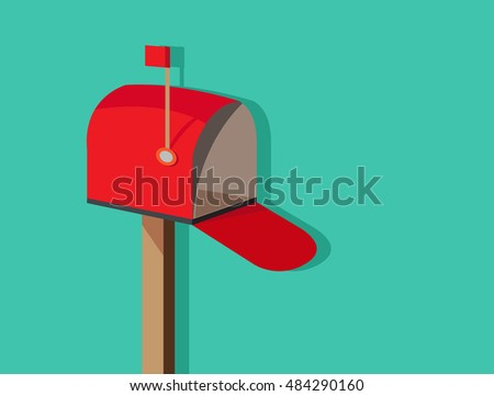open empty mailbox ,flat design vector icon, with red flag on green  background