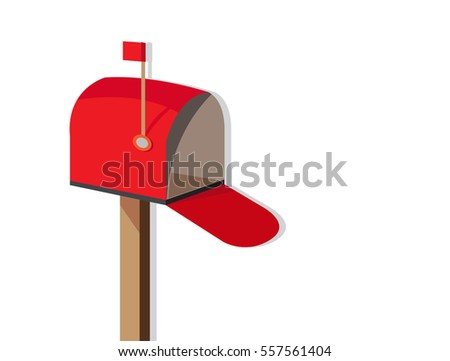 empty mailbox. open empty mailbox flat design vector icon with red flag on green background
