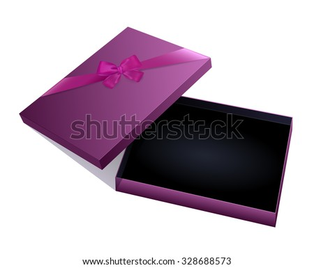 Open empty purple jewelry gift box with ribbon bow on cover isolated on white background. Clip art