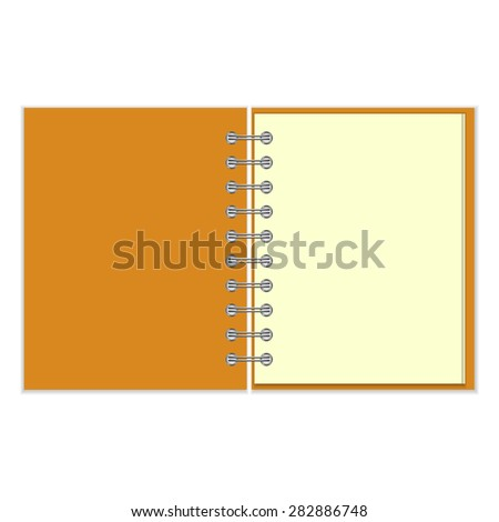 Open empty ring-bound notebook with orange cover isolated on white background