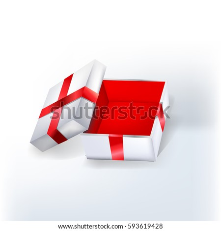 Open empty white gift box with red ribbon and red walls inside. Vector illustration.