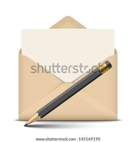 Open envelope and pencil