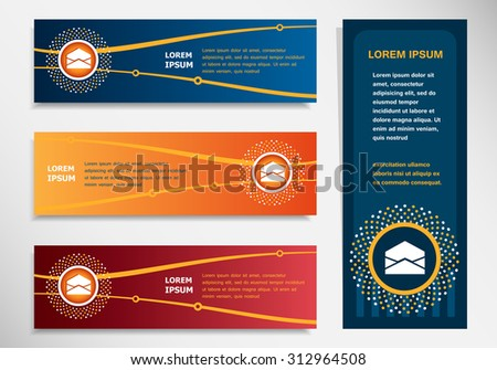 Open envelope icon on modern abstract flyer, banner, brochure design template. Collection for Business  - stock vector