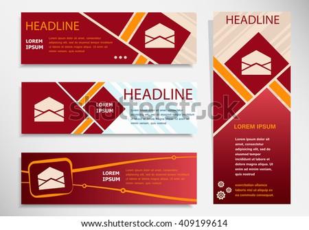 Open envelope icon on vector website headers, business success concept. Modern abstract flyer, banner. - stock vector