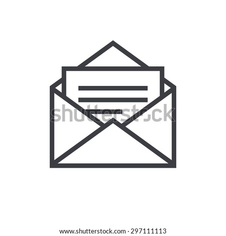 Open Envelope Outline Icon Modern Minimal Stock Vector 297111113 ...