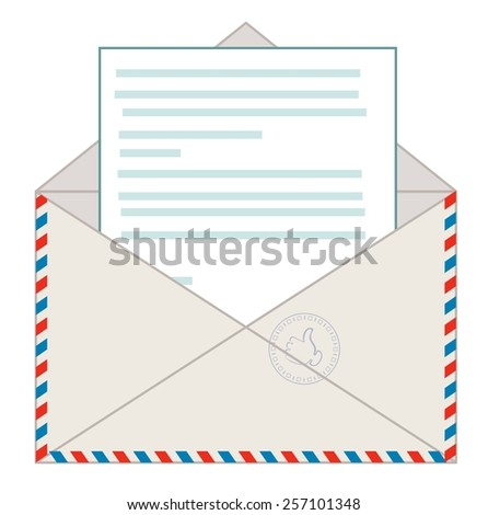 Open envelope with a letter, vector illustration - stock vector