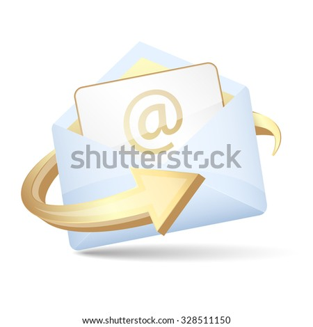 Open envelope with arrow and email letter. Vector illustration.