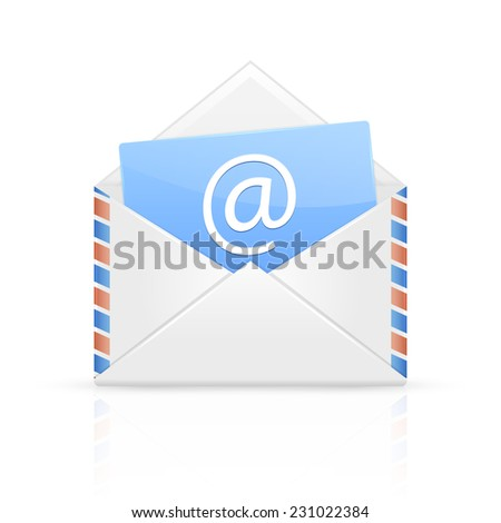 Open envelope with email isolated on white background, illustration. - stock vector