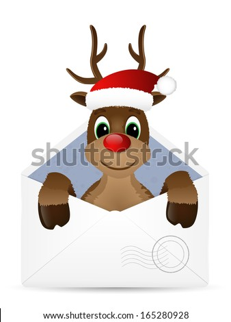 Open envelope with reindeer. Vector illustration. - stock vector