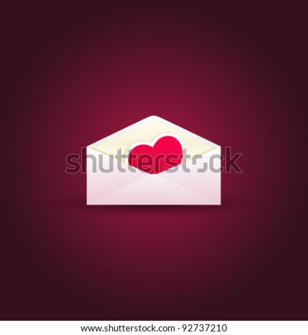 open envelope with valentine's day greeting heart