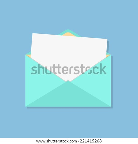 open envelope with white sheet. concept of analysis correspondence, spam and personal communication. isolated on blue background. flat style design modern vector illustration - stock vector