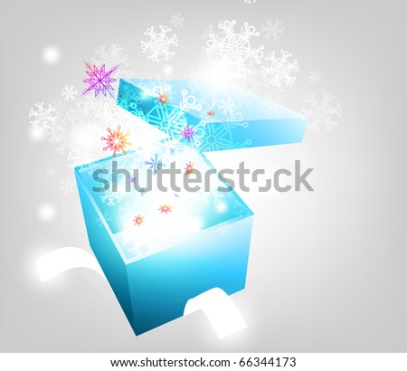 Open explore gift with fly snowflakes vector background. Eps 10