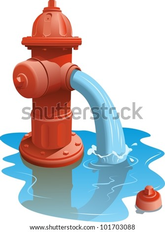 Open fire hydrant letting the water flow out. - stock vector