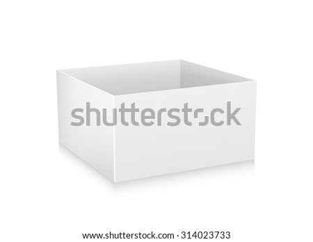 Open flat box. White object on white background, vector illustration