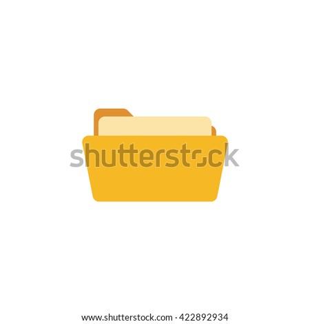 Open folder. Folder with documents. Yellow folder isolated on white background. Flat folder - stock vector