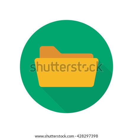 Open folder. Folder without documents. Yellow folder isolated on green background. Round icon with long shadow - stock vector
