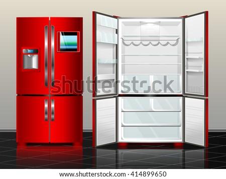 Open fridge with freezer. Closed fridge. Vector illustration red modern fridge of the interior. - stock vector