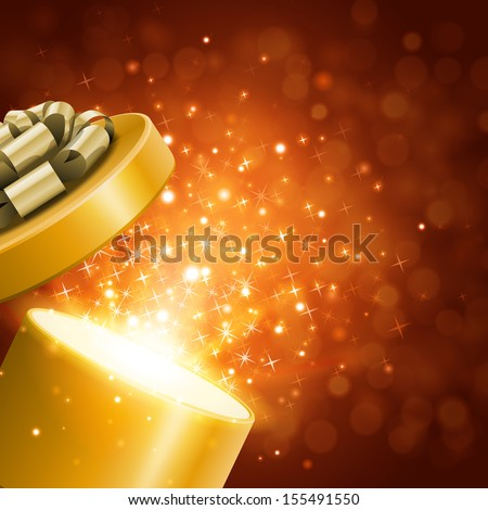 Open gift and light fireworks christmas vector background.  - stock vector