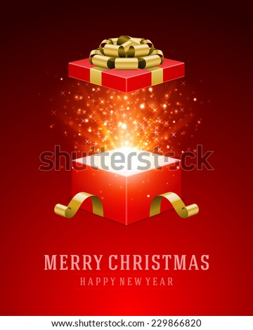 Open gift and light fireworks christmas vector background. Merry Christmas and Happy New Year message. - stock vector