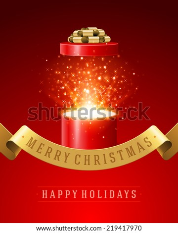 Open gift and light fireworks christmas vector background. Merry Christmas and Happy New Year or Happy Birthday illustration.  - stock vector
