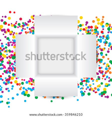 Open Gift Box And Confetti. Top View. Vector Illustration. - stock vector