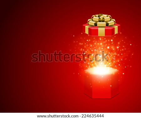 Open gift box and magic light fireworks Christmas background. Raster version.  - stock vector