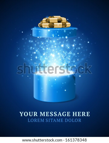 Open gift box and magic light fireworks Christmas vector background. Greeting card. - stock vector