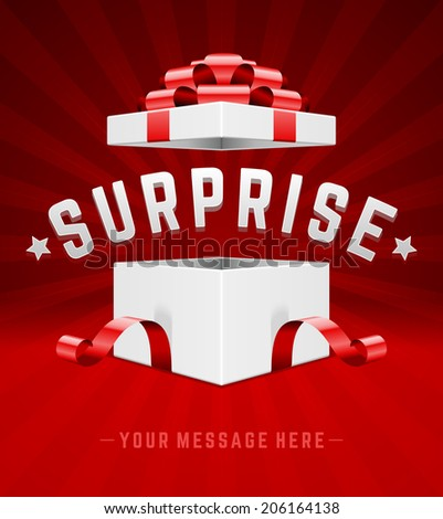 Open gift box and with red bow and ribbon vector background. Surprise message - stock vector
