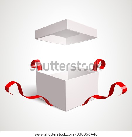 Open gift box vector design template. Elements are separately editable in vector file. - stock vector