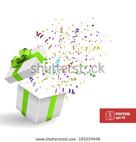 Open Gift box with Confetti. Vector Background - stock vector