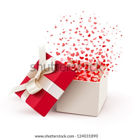 Open gift box with hearts isolated on white