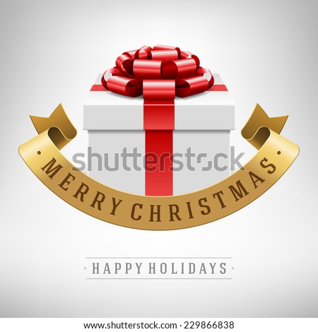 Open gift box with red bow and ribbon vector background. Greeting card design and Merry christmas message.  - stock vector
