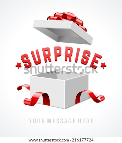 Open gift box with red bow and ribbon vector background. Surprise message.  - stock vector