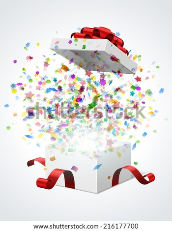 Open gift box with red bow and ribbon vector illustration. Fireworks sparkles and confetti.  - stock vector