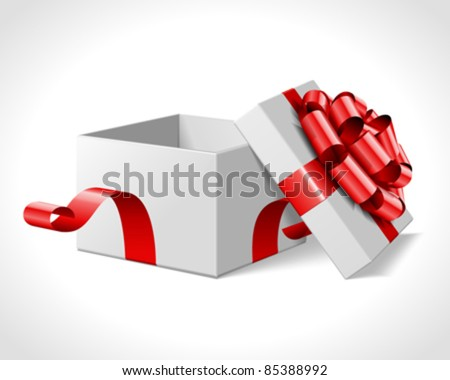 Open gift box with red bow isolated on white. Vector illustration eps 10. - stock vector