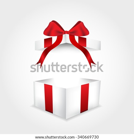 Open gift box with red ribbon - stock vector