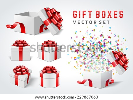 Open gift boxes and with red bow and ribbon vector design elements set isolated on white background.