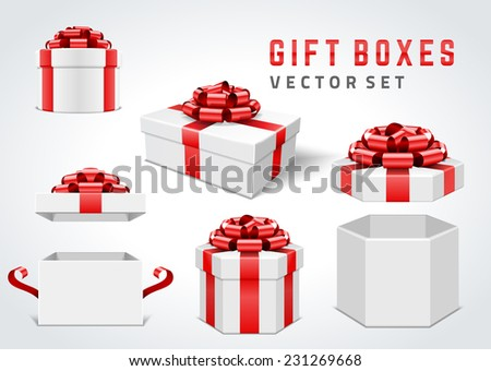 Open gift boxes and with red bow and ribbon vector design elements set isolated on white background. - stock vector