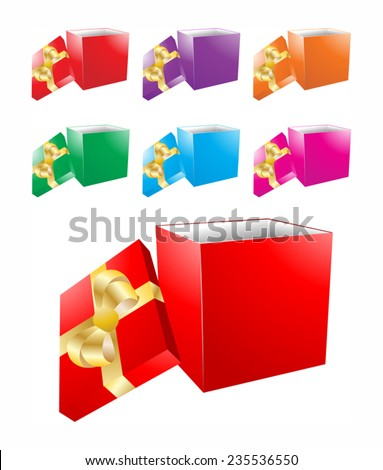 Open gift boxes in different colors