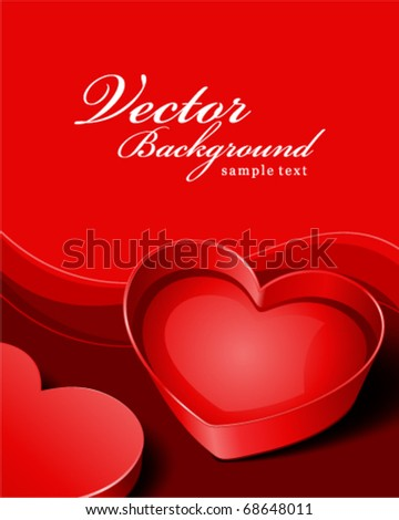 Open gift heart Valentine's day vector background