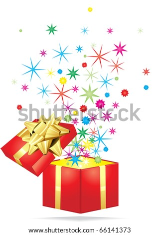 Open gift with colorful stars flying out it on a white background - stock vector