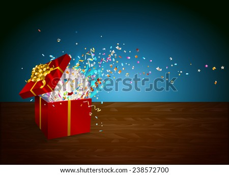Open gift with fireworks from confetti on wooden table. Border design. Background for promotions and offers. Festive action.