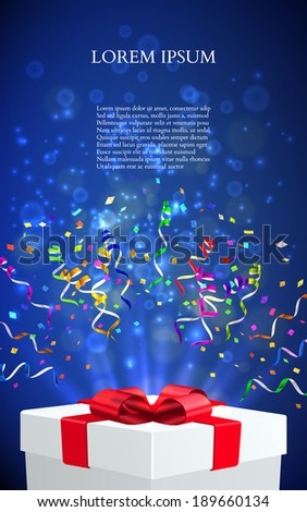 Open gift with fireworks from confetti. vector - stock vector