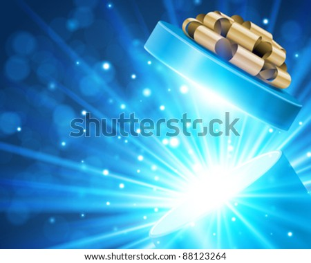 Open gift with fireworks from light vector background. Eps 10 - stock vector