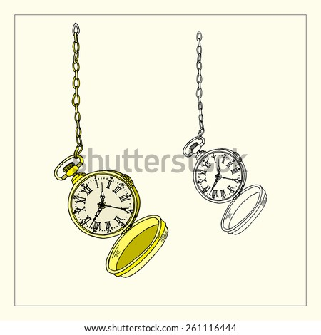 Open Golden Pocket Watch & its outline for any time concept or design. Clock face with Roman numerals and ornate vintage scrolled hands. Hand drawn illustration. Vintage style. - stock vector