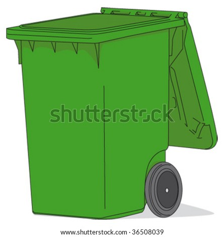 Open green waste container - stock vector